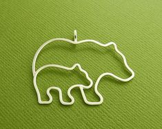 Bear Pendant, Mother and Cub, Mother and Baby, Sterling Silver, Made To Order