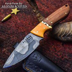 ALONZO KNIVES USA CUSTOM HANDMADE DAMASCUS HUNTING SKINNING KNIFE BURL WOOD2161 #AlonzoKnives