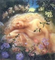 "Titania Sleeping, by Kinuko Y. Craft -- Illustration from Shakespeare's ""A Midsummer Night's Dream"" Fairy Dust, Fairy Land, Fairy Tales, Fantasy World, Fantasy Art, Fantasy Fairies, Art Magique, Midsummer Nights Dream, Alphonse Mucha"
