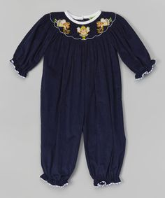 Loving this Navy Angel Smocked Corduroy Playsuit - Infant & Toddler on #zulily! #zulilyfinds