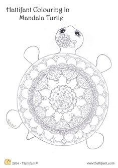 Mandala Turtle (rare species) to Colour In – Hattifant Mandala Turtle (seltene Art) zu Color In – Hattifant Turtle Coloring Pages, Mandala Coloring Pages, Coloring Book Pages, Mandala Turtle, Design Lotus, Mandalas Drawing, Rare Species, Colorful Drawings, Art Lessons