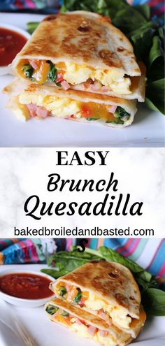 These easy brunch quesadillas are cheesy and full of yumminess. Along with eggs they are stuffed with spinach , ham and cheese. With a buttery crunchy outside they are perfect dipped in a little salsa. Mexican Brunch, Mexican Breakfast Recipes, Mexican Food Recipes, Quesadillas, Breakfast Party, Breakfast Cafe, Breakfast Bowls, Breakfast Ideas, Vegetarian Brunch