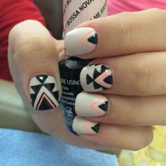gel manicure with aztec tribal nail art