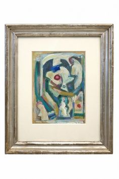 Abstract painting by Walter Firpo (1903-2002), oil on paper. France, circa 1950