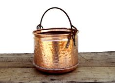 COPPER PLANTER French Vintage Dimpled Bucket by FrenchMarketFinds, €48.00