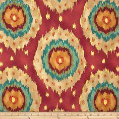 Red, Orange, Teal, Gold Ikat Curtain Panel/ Custom drapery in Richloom designer fabric on Etsy, $220.00