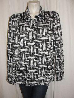 NEW CHICO'S Black White Organic Jacquard KERRIS L Sleeve Button Jacket Sz XL (3) #Chicos #BasicJacket