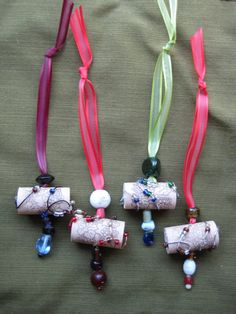Recycled Wine Cork Ornaments or Wine Bottle Charms