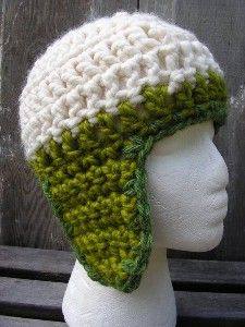 Pixie Ear Flap Hat Green and Cream Crochet by...