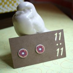 Sweet Donut Doughnut Stud Post Earrings ✋Handmade By Me!✋  Sweet Donut Stud Post Earrings! Perfect Gift For Any Occasion! D'oh!  ❤️All earrings are hand drawn, colored and printed on durable plastic.  ❤️Sealed with acrylic for long lasting color. ❤️Stud Posts attached! Eleven Dot Dot Eleven Jewelry Earrings