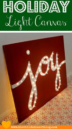 "Child at Heart: Holiday ""JOY"" Light Marquis Canvas"
