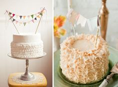 LOVE the ruffled cakes...and the mini banners :)