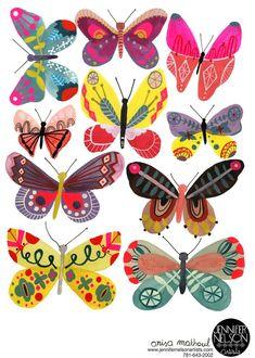 Butterflies, Girl, print of my original painting diy tattoo - diy tattoo images - diy tattoo ideas - Butterfly Illustration, Butterfly Drawing, Butterfly Tattoo Designs, Illustration Art, Butterfly Painting, Mundo Hippie, Tattoo Diy, Insect Art, Guache