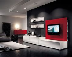 Many TV table like a mini buffet where there are shelves for your DVD collection and storage drawers, but with a simple design, straight and slim.
