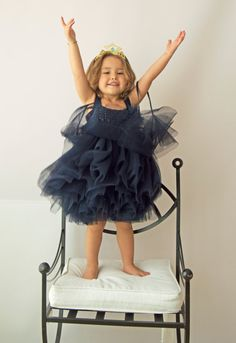 Navy Blue Tulle Dress with Empire Waist and by AylinkaShop
