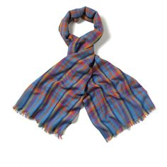 Oversized Lightweight Cotton and Wool Madras Scarf - Wool - Scarves - Drakes London