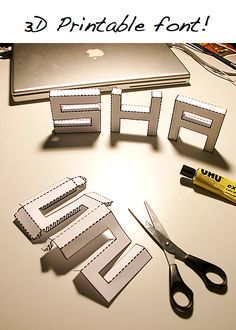 DIY 3D font. This would be great when applied to fabric instead of paper. Think about it.