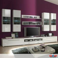 Die #Wohnwand ICE strahlt in hellem Weiß und ist mit grau-transparentem Glas (inkl. LED-Beleuchtung) abgesetzt. Die neun Einzelmöbel können ganz nach Belieben angeordet werden - Gesamtmaß: B/H/T ca. 340/195/48 cm