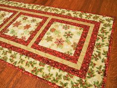 Red and Gold Christmas Table Runner with Snowflakes and Holly