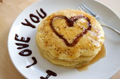 Heart on pancakes