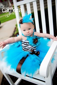 ADORABLE Baby  Zebra Tutu Outfit in Turquoise and Brown. $87.