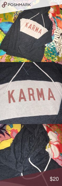 """Karma"" Soft Pullover Hoodie Blue- Well Worn look Women's Karma Soft Brushed Leisure Pullover Sweatshirt Navy Blue - ""Well Worn"" look and feel Blue drawstring hoodie with white color block and red writing ""KARMA""  Very comfy Good condition Tops Sweatshirts & Hoodies"