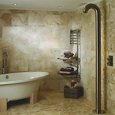 THIS ONE Warm colour & clean lines Wickes Light Cappuccino Beige Polished Marble Wall & Floor Tile 305x610mm