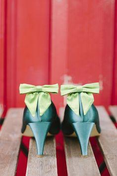 Schuhclips mit Schleife in hellgrün, grün von Noni  auf DaWanda.com