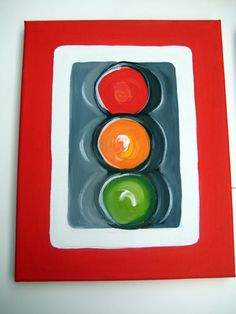 Hand painted traffic light sign on canvas by thepresentplace, $30.00