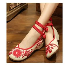 Vintage Chinese Embroidered Flat Ballet Ballerina Cotton Cheap Mary Jane Shoes for Women in Red Floral Design - Mega Save Wholesale & Retail - 1
