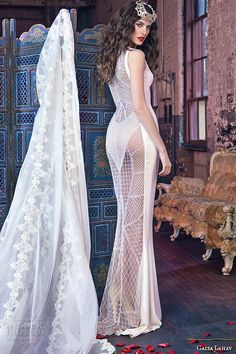 galia lahav spring 2016 bridal dresses jewel neckline keyhole front silk crepe sheath wedding dress wendy back view