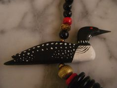 Beautifully Unique Canadian Loon Necklace with Wood and Brass Beads by DancingSunbeams on Etsy Vintage Jewelry, Brass, Wood, Unique, Etsy, Beauty, Beleza, Woodwind Instrument, Timber Wood