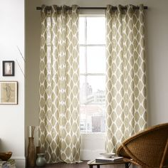 West elm Ikat Ogee curtains On their way to my living room windows! West Elm Curtains, Ikat Curtains, Neutral Curtains, Bedroom Curtains, Stenciled Curtains, Patterned Curtains, Painting Curtains, Curtains Living, Bedroom Windows