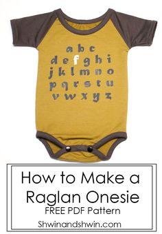 How to make a Raglan Onesie    Free Pattern    Modern Baby Clothes    Shwin&Shwin