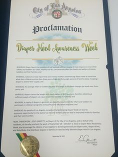 Los Angeles, CA - Mayoral proclamation recognizing Diaper Need Awareness Week (Sept. 28 - Oct. 4, 2015) #DiaperNeed www.diaperneed.org