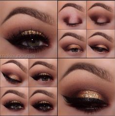 Golden smokey eyes ✨ Eye base, Eyeshadows: Vino, Sweet Plum, Cappuccino, Blizzard, Antique Gold, Little Black Dress gel liner, Glitter adhesive, Pot of Gold glitter pot, #110 false Lashes, mineral Mascara. All motives products are available for US/CAN at www.IHEARTMOTIVES.com or internationally at Global.Shop.com/heartmotives
