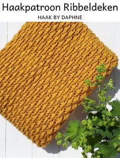 Haak by Daphne: Ribbeldeken Diy Knitting Needles, Loom Knitting, Crochet Home, Diy Crochet, Irish Crochet, Diy Cushion, Knitted Blankets, Blanket Crochet, Crochet Patterns
