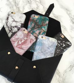Marble collection in Contrast, Rose, Teal, Hampton Blue & Black Onyx from Elemental Cases. Available for iPhone 6/6s and 6 Plus/6s Plus