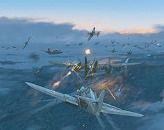 "hanspanzer: "" Messerschmitt Bf-109 atacando una formación de Douglas A-20 Havoc soviéticos. """