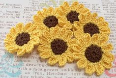 Crochet Sunflower Appliques by FineThreads on Etsy, $3.60