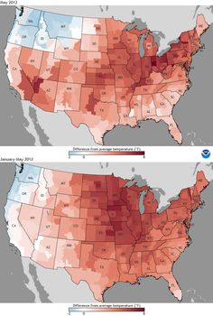 difference from average temperature in May of 2012 on top and January through May 2012 at the bottom