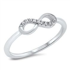 925 Sterling Silver CZ Simulated Diamond Half-Stoned Infinity Ring 5MM
