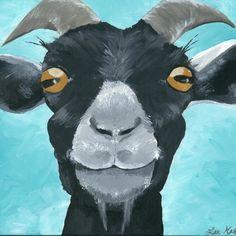 Goat print from original goat painting, Canvas goat art, cute goat decor, goat prints Goat Paintings, Animal Paintings, Goat Art, Cute Goats, Farm Art, Of Wallpaper, Whimsical Art, Art Oil, Farm Animals