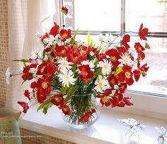 Polymer clay flower arrangements hand crafted  by Ekaterina Zverzhanskaya