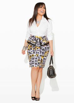 Ashley Stewart Signature Mandarin Collar Shirt, Geo Print Peplum Skirt and Quilted Satchel with Chain.