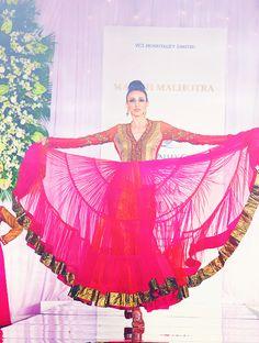 Hot pink Anarkali & gold bail