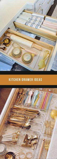 DIY Kitchen Drawer Ideas #diykitchen #kitchendrawers Drawer Ideas, Storage Ideas, Kitchen Reno, Diy Kitchen, Drawer Inspiration, Drawer Design, Kitchen Drawers, Cool Kitchens, Diy Home Decor