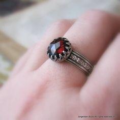 Sterling Silver Medieval Rose Cut Garnet Ring