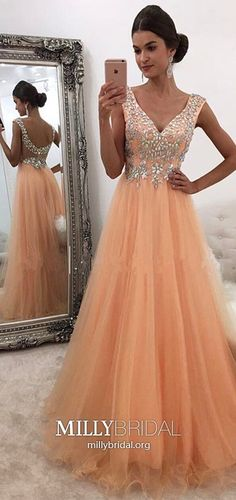 Pink Prom Dresses Long, A Line Prom Dresses V Neck, Open Back Prom Dresses Tulle, Beading Prom Dresses Sequin