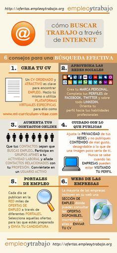 Aprende a buscar trabajo con la ayuda de Internet #Infografía #empleo #0800flor